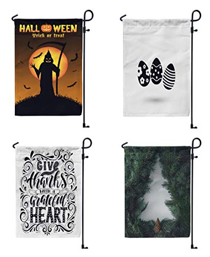 FINOY Halloween Christmas Garden Flagsgrim Reaper with Halloween,Easter Eggs,Give Thanks with Inspirational Quote,Christmas-TreeOutdoor Flag Double Sided Outdoor 4 Pack 12' x 18'