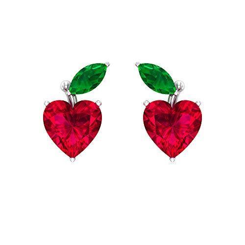 Joyas Rosec??? Pendientes de fresa con rubí de 1,4 quilates, pendientes de esmeralda (calidad AAA), 10K Oro blanco, Par