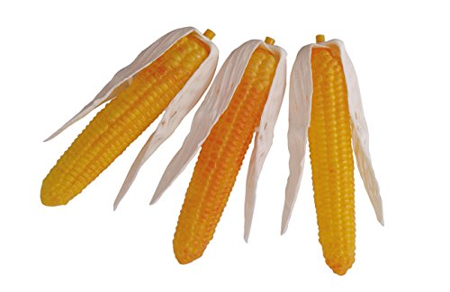 ERRO 3er Set Mais Kunststoffnachbildungen - 07241, Hohlattrappen aus Plastik, Lebensmittelnachbildung, Fake Food, Deko Gemüseattrappe, Gastronomiebedarf, Foodmodel