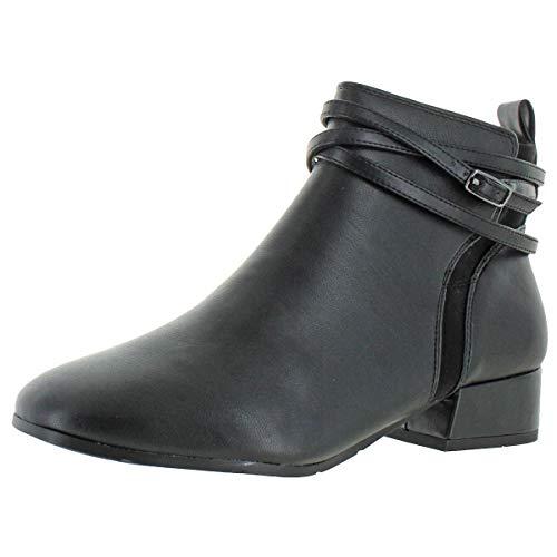 Easy Spirit Dae 3 Women's Faux Leather Casual Block Heel Bootie Black Size 9.5
