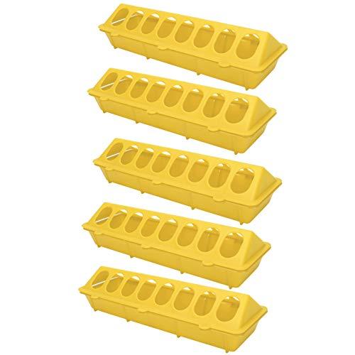 HERCHR Paquete de 5 comederos para Pollos, comedero para Aves de Corral, dispensador de Comida para pájaros con 16 Orificios para Animales de Aves, 30 x 12,5 x 8 cm(Amarillo)