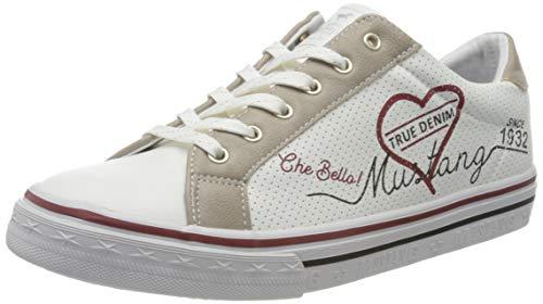 MUSTANG Mädchen 5056-305 Sneaker, Weiß (Weiß/Beige 14), 35 EU