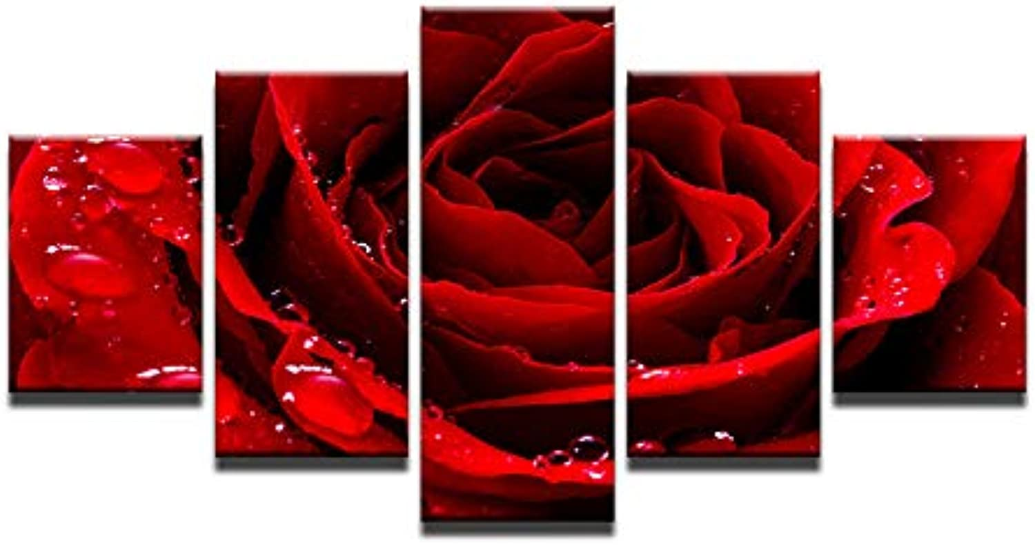 Home Decoration 5 Pieces Red pink Canvas Painting with No Frame for Home Decoration Living Room Wall Artwork