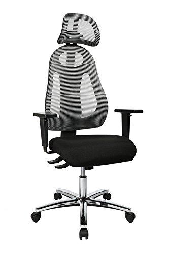 Topstar Free Art Chrom, ergonomischer Bürostuhl, Schreibtischstuhl, inkl. höhenverstellbarer Armlehnen und Kopfstütze, Stoff, Hellgrau/Schwarz
