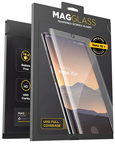 Magglass Galaxy Note 10 Plus Tempered Glass Screen Protector w/Fingerprint Display Compatibility - Anti Bubble UHD Clear Full Coverage Resistant Screen Guard for Samsung Note 10+ (Case Friendly)
