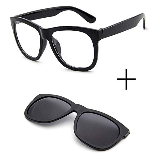 NOSSON Sonnenbrillen für Herren, Magnetclip auf Sonnenbrillen Brille Quadratische Linse Männer Frauen Spiegel Sonne Nachtsicht Fahren