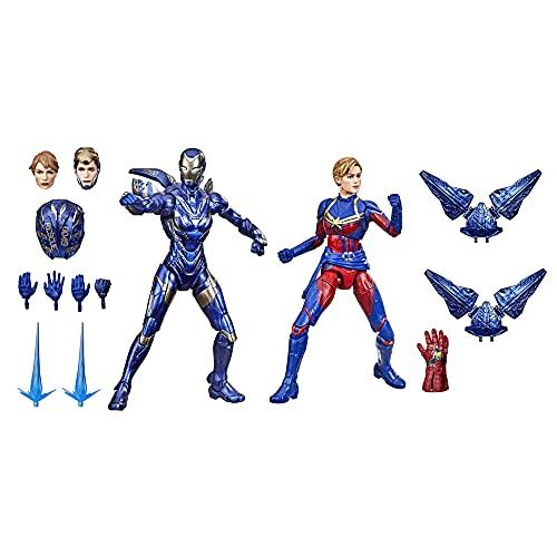 Marvel Legends Series Saga do Infinito, Kit com 2 Figuras de 15 cm - Capitã Marvel e Armadura de Resgate - F0190 - Hasbro