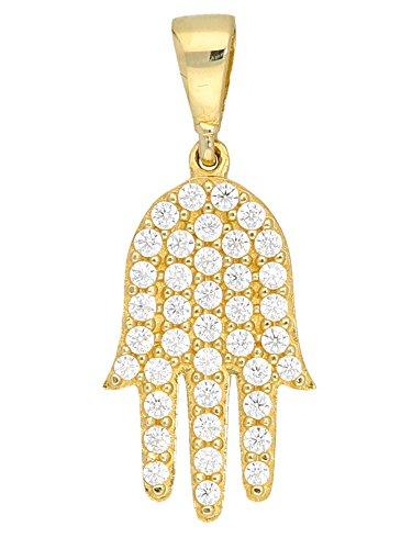 MyGold Fatima hanger (zonder ketting) geel goud 333 goud (8 karaat) met stenen 39 zirkonia 10 mm x 22 mm Hamsa amulet gouden hanger halsketting gouden ketting dames ketting hand Rowena V0013817