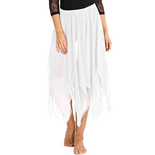 iiniim Falda de Danza Flamenco Falda Larga Irregular de Gasa para Mujeres Chicas Falda Apertura Danza del Vientre Hendidura Sexy Disfraz de Fiesta Baile Belly Dance Skirt Blanco One Size