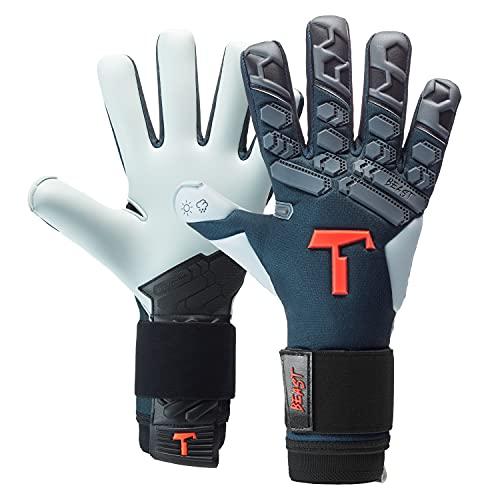 T1TAN Petrol Beast 2.0 Torwarthandschuhe mit Fingerschutz, Fußballhandschuhe Herren & Erwachsene - 4mm Aqua Grip - Gr. 10