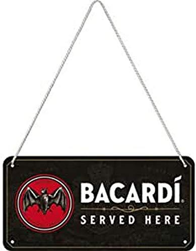 Nostalgic-Art Retro Ophangbord, Bacardi – Served Here – Geschenkidee voor rumliefhebbers, van metaal, Vintage ontwerp voor decoratie, 10 x 20 cm