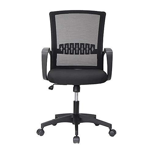Silla de oficina de malla de diseño ergonómico con ruedas y altura ajustable negra