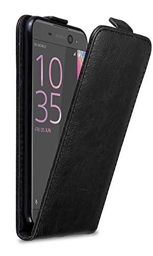 Cadorabo Hülle für Sony Xperia XA in Nacht SCHWARZ - Handyhülle im Flip Design mit Magnetverschluss - Hülle Cover Schutzhülle Etui Tasche Book Klapp Style