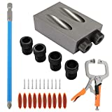 29PCS Pocket Hole Screw Jig, Dowel Drill Joinery Kit Woodworking Angle Drilling Guide Angle Tool Kit for Woodworking Angle Drilling Guide (11)