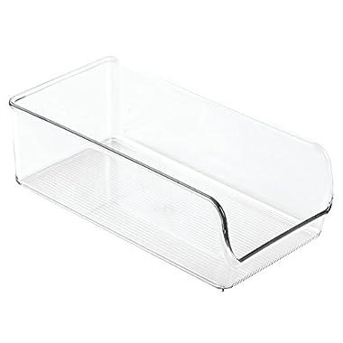 InterDesign Linus Refrigerator or Freezer Food Storage Container – Organizer Drawer for Kitchen or Pantry - Medium, Clear