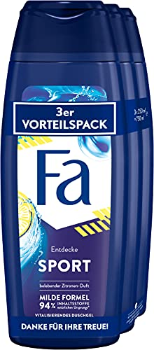 Fa Vitalisierendes Duschgel Sport mit dem vitalisierend-frischen Duft von grünem Zitrus 3er, 750 ml