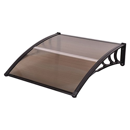 "Tangkula 40""x 40"" Window Awning Modern Polycarbonate Cover Front Door Outdoor Patio Canopy Sun shetter 3 Colors (Clear with Black Edge)"