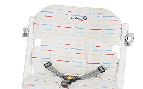 Safety 1st Timba Hochstuhl-Sitzkissen, schnelle und einfache Befestigung, waschbar, bietet dem Kind noch mehr Komfort, rot gestreift