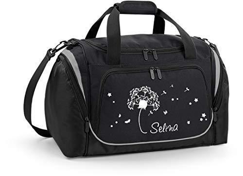 Mein Zwergenland Sporttasche Kinder personalisierbar mit Schuhfach, Kindersporttasche 39L mit Name und Pusteblume Bedruckt in Schwarz