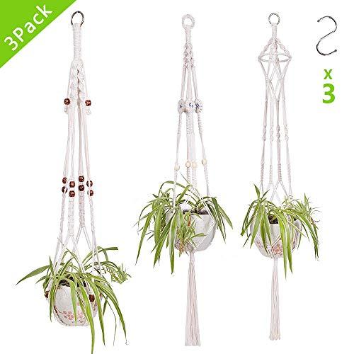 SUCHDECO 3Pcs Colgador para Plantas Macrame, Macetas colgantes para plantas con 3 Ganchos, Macetero de cuerda de algodón blanco para interior al aire libre Maceta, Decoración del Jardín del Balcón