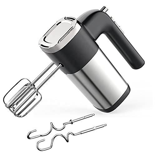 SHOPPOFOBIX Hand Mixer with 5 Speeds + Turbo Mode - Powerful 450-Watt Motor - Whisks & Dough Hooks (Black )