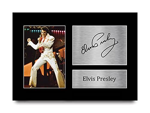 HWC Trading Elvis Presley A4 Sin Marco Regalo De Visualización De Fotos De Impresión De Imagen Impresa Autógrafo Firmado por Aficionados A La Música