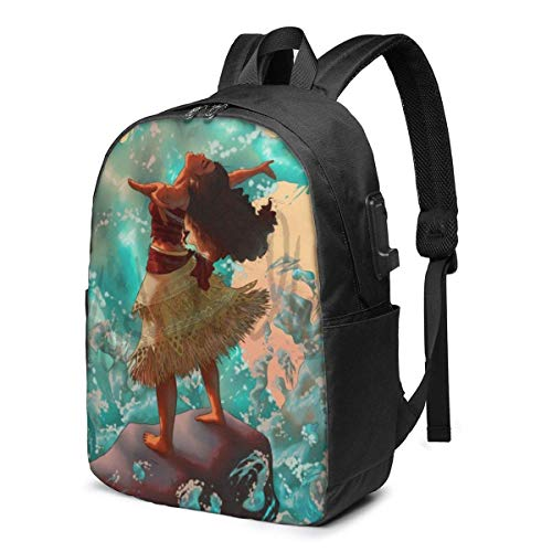 Moana Laptop Backpack- with USB Charging Port/Stylish Casual Waterproof Backpacks Fits Most Laptops and Tablets