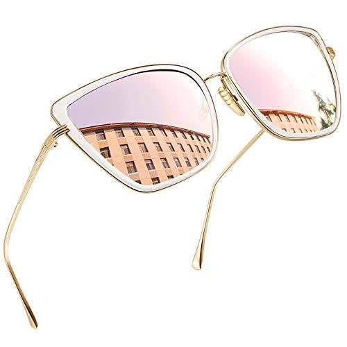 Joopin Occhiali da Sole da Donna Grande Occhio di Gatto Retro Vintage Specchiati Stile Occhiali Quadrato Protezione UV400 (Specchio Rosa)