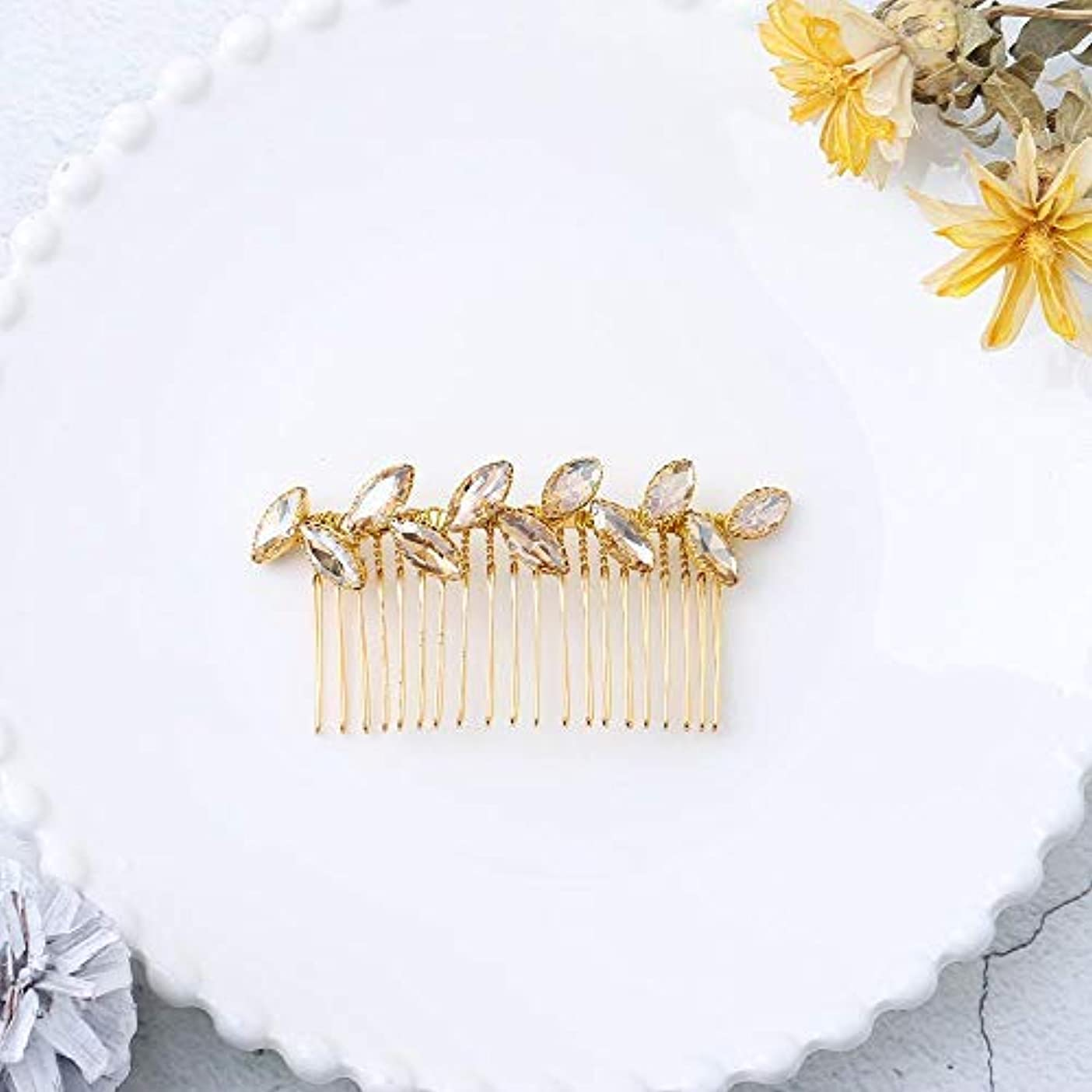 Jovono Bride Wedding Hair Comb Bridal Headpieces with Champagne Rhinestone for Women and Girls (Gold) [並行輸入品]