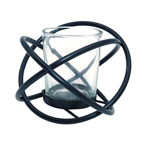 Shiwaki nórdico Creativo geométrico Metal portavelas Adornos Hierro Forjado Aroma Negro portavelas Decoraciones de Escritorio (Negro)