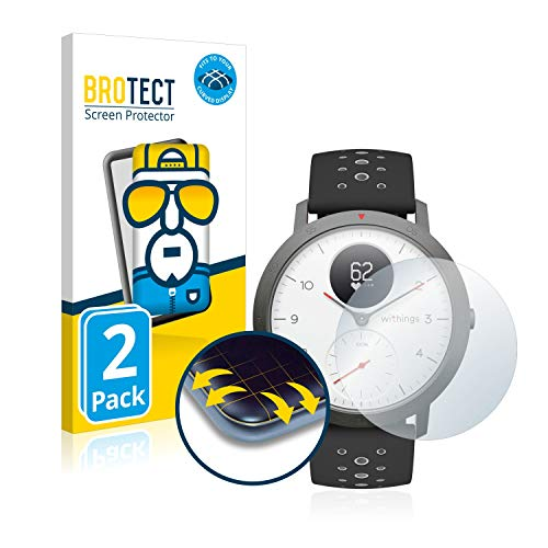 BROTECT Protector Pantalla Completa Compatible con Withings Steel HR Sport (40 mm) (2 Unidades) 3D Curvo