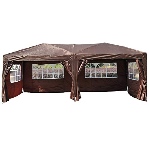 Outsunny 6 x 3 m Garden Heavy Duty Water Resistant Pop Up Gazebo Marquee Party Tent Wedding Awning Canopy Coffee with Strong Carrying Bag