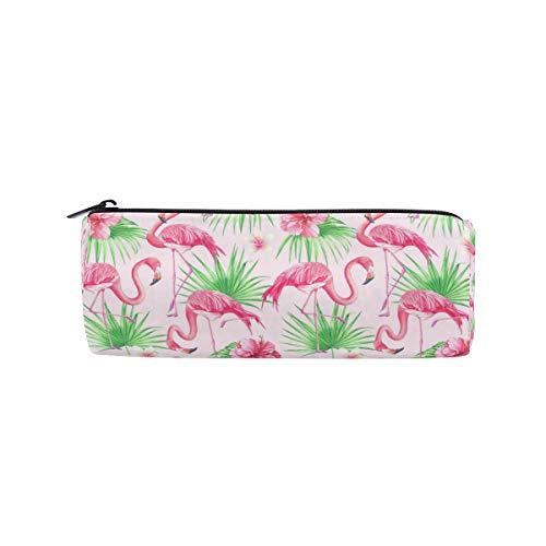 Ahomy Federmäppchen Tropische Blumen Palmblatt Flamingo Reißverschluss Federtasche Tasche für Teenager Mädchen und Jungen, Reise Make-up Tasche für Frauen