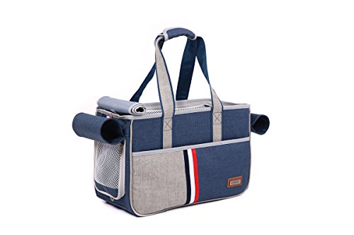 JPTACTICAL Pet Carrier Bag for Dogs or Cats | Pets Carriers with Locking Safety Zippers |Airline Approved Travel Pet Carriers | Perfect for Dogs, Cats, Small Pets (Dark Blue)