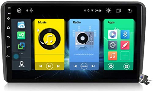Android 9.1 GPS Navigation Stereo Radio para Audi A3 2 8P 2003-2013, 9' Pantalla Coche Media Player Soporte Carpaly/5G FM RDS/Control Volante/Bluetooth Hands-Free