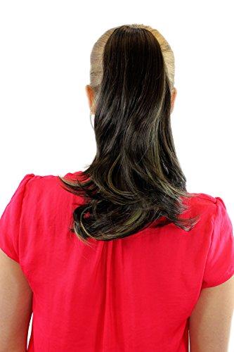 Extension, Perruque, châtain/blond mélangés, tresse, attache par pince, lisse avec des pointes courbées, env. 35 cm, RL-060-8H24