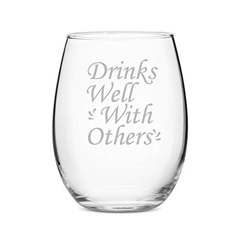 All Gifts - Drinks Well With Others 15 oz Stemless Wine Glass