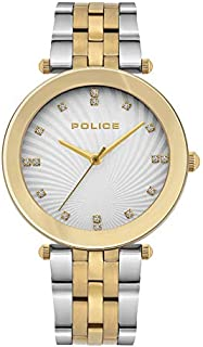 Police Montaria Analogue Silver Dial Silver And Gold Plated Stainless Steel Watch For Women - PL 15569MSG-04MTG