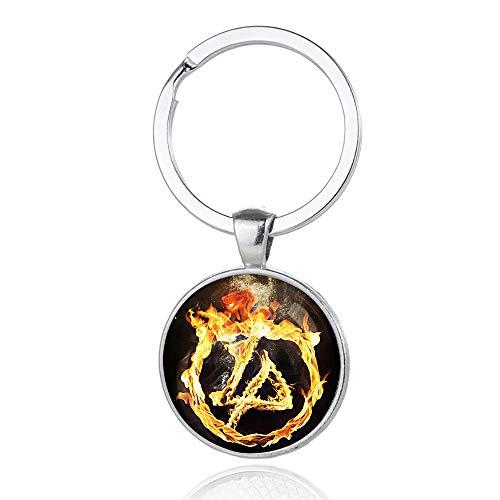 Linkin Park Llavero retráctil de alambre de acero atornillada sujetada Clip Llavero de diseño creativo de la manera pendiente llavero llavero hecho a mano de bricolaje ( Color : A04 , Size : 6 X 3cm )