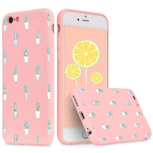 idocolors Custodia iPhone 7 Plus/8 Plus Cover Protettiva Custodia in Silicone Liquido per Apple iPhone 7 Plus/8 Plus Rosa Backcover Cellulare Cactus