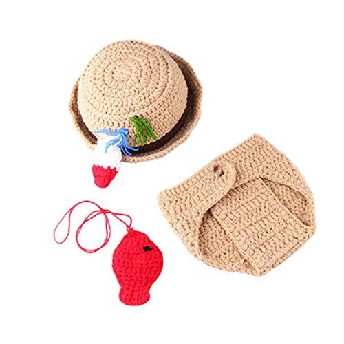 Neugeborene Fotografie Requisiten Baby Foto Kostüm Kreativer Hut und Hose Beach Style Outfits Shooting Zubehör für Baby 0-3 Monate Beige