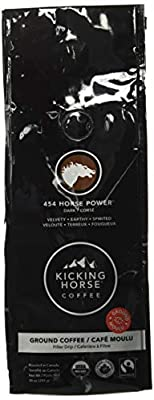 Kicking Horse Coffee, 454 Horse Power, Dark Roast, Ground, 10 oz - Certified Organic, Fairtrade, Kosher Coffee