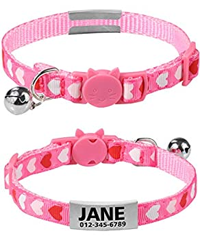 TagME Collier Chat Personnalisable Anti Étranglement,Nom Collier Chat,Collier Identification Chat,Coeur Rose