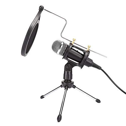 Micrófono de condensador, Micrófono de grabación profesional con cubierta antiproyección/Soporte de micrófono, Micrófono de reducción de ruido para PC/Teléfono móvil