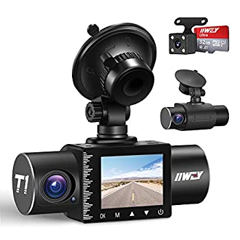 iiwey Dash Cam Front Rear and Inside 1080P Three Channels with IR Night Vision Car Camera SD Card Included Dashboard Camera Dashcam for Cars HDR Motion Detection and G-Sensor for Car Taxi Uber