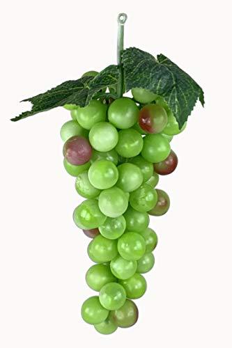 Deko Weintrauben Rispe Wein Trauben Kunstobst Kunstgemüse künstliches Obst Gemüse Dekoration (Länge 25 cm, Grün gemischt rund)