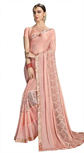 Triveni Sarees Synthetic with Blouse Piece Saree (VPCLE25552_Pink_Free Size)