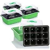 com-four Invernadero Interior 4X para Plantas en Crecimiento - Conjunto de Cultivo para 48 Plantas - Caja de Plantas para el hogar (04 Piezas - invernaderos Interiores pequeños)