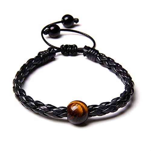 JKLJKL Bracelets 12 mm Big Hole Beads Pulsera Pájaros Naturales Braded Brazalets Aventurine Agates Ajustable Cuerda Joyería para Mujeres Hombres Pulsera (Metal Color : 3.Tiger Eye)