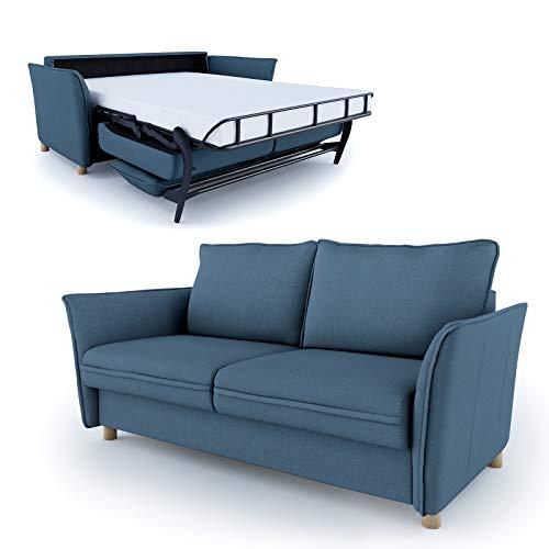 place to be Hochwertiges Schlafsofa 160 cm Liegefläche + Matratze + Lattenrost - Einfach Ausklappbar Blau Marineblau Blue + 16 Farben